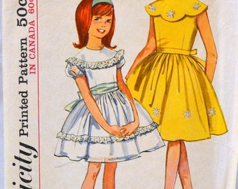 Vintage 1964 Sewing Pattern Simplicity 5371 Girls' Dress  Size 7 Breast 25 Complete