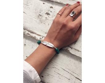 Boho bracelet with wooden beads, turquoise, spring, Bohochic, Gypsy bracelet, bead