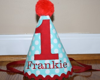 baby boys first birthday party hat, smash cake outfit, 1st birthday hat, aqua blue red birthday hat,  personalized birthday hat, photo prop
