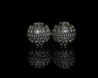 Two 18mm Sterling Silver Bali Granulation Beads, Bali Beads, 18mm Sterling Silver Beads, Sterling Silver Beads. Sterling Silver Bead.