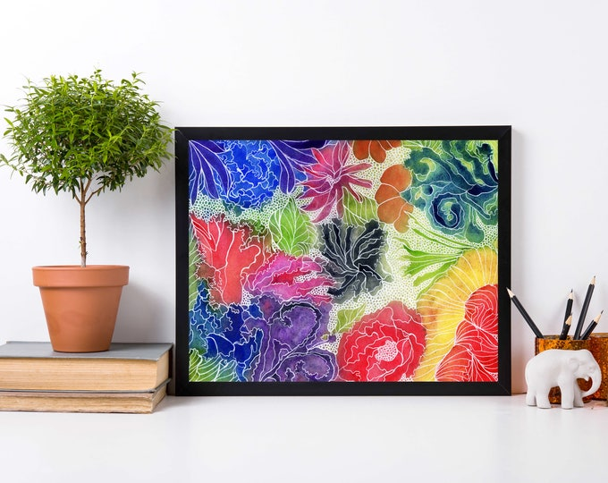 Featured listing image: Floral Invention - Abstract Floral Watercolor Painting - Art Print