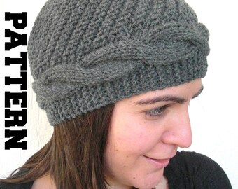 Instant Download Knit hat pattern-  winter knitting Digital  Hat Knitting PATTERN PDF - Cable Knit hat  Pattern - Cloche Hat Knit Pattern