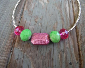 Pink and Green Collar Necklace