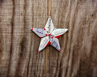 Upcycled Budweiser Beer Can Star Ornament