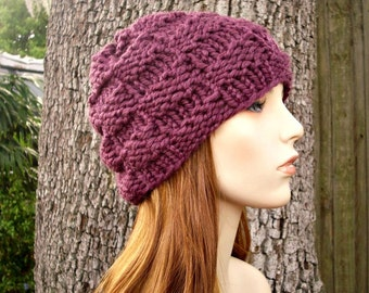 Knit Hat Purple Womens Hat - Basket Weave Beanie in Fig Purple Knit Hat - Purple Hat Purple Beanie Womens Accessories Winter Hat