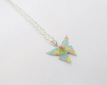 Cherry Blossom Origami Paper Butterfly Necklace- Light blue, pink, yellow cherry blossoms