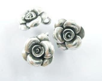 2 of Karen Hill Tribe Silver Rose Charms 12.8 mm. :ka1064