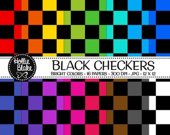 50% off SALE!! 16 Black Checkers Digital Paper • Rainbow Digital Paper • Commercial Use • Instant Download • #CHECKERS-103-BB