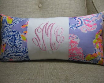 """Lilly Pulitzer Accent Pillow 10""""x20""""(Lilac Verbena So Snappy) INSERT INCLUDED/Preppy /Dorm Bedding/Nursery Gift/Sorority/Girls Room"""