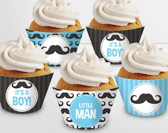 Blue Mustache Cupcake Wrappers. Printable Cupcake Wraps. Baby Boy Covers. Baby Cupcake Decor. Blue Little Man Baby Shower Decorations