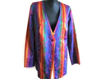 Plus size Summer jacket Colorful striped cardigan women Rainbow Laud blazer Psychedelic Party jacket Abstract blazer Cotton jacket
