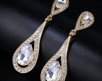 "PAIR Rhinestone GOLD Crystal Wedding Prom Gauges Plugs 8mm 0g 10mm 00g 7/16"" 11mm 1/2"" 12mm 9/16"" 14mm 5/8"" 16mm 11/16"" 19mm 3/4"""