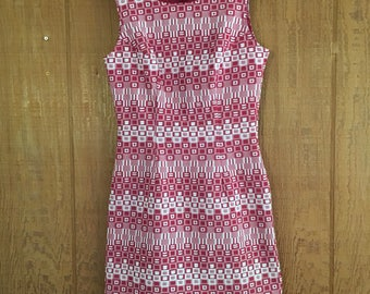 Vintage 90s maroon red & white geometric square mod hourglass mini dress by rampage size S