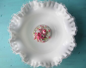 Vintage Fenton Milk Glass Silver Crest Serving Bowl