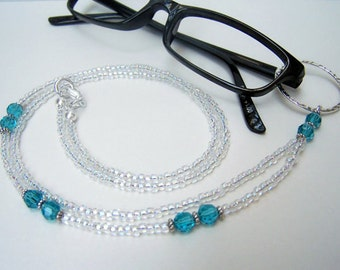 Eyeglasses Holder, CLEARANCE, Blue Crystals, Lanyard for Glasses, Eyeglass Necklace, Eyeglasses Loop