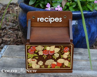Vintage Wood Recipe Box with Lovely Fruit Design