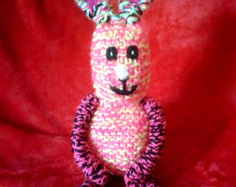 Colourful Bunny Rabbit Knitted Handmade Soft Toy