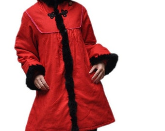 Women winter red long padded Loose Stand collar outerwear red coat