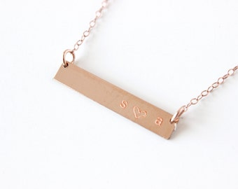 Personalized Plate Necklace Rose Gold Name Plate Necklace Horizontal Necklace Message Necklace Layering Necklace Initial Necklace