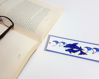 Handpainted Blue Dolphin Bookmark / Handpainted Dolphin Gift / Personalised Bookmark / Book Lover Gift for Reader / Custom Bookmark Blue