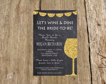 Wine Tasting Chalkboard Banner Gold Sparkle Bachelorette Party Bridal Shower Invitation