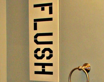 Flush The Toilet Sign - Bath Wall Art - Funny Bathroom Signs - Bathroom Rules Sign - Wooden  Bathroom Signs -  Bathroom Wall Pictures