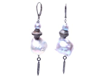 Grey Silver Baroque Pearl Rustic Earrings with Diamond