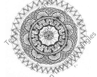 """Zendala Coloring Page / Zentangle® Inspired Art - """"Ona"""""""