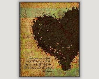 Pablo Neruda Quote, romantic wall art, anniversary gift, heart art, love quote, macabre art, poetry art, romantic gift, bedroom art