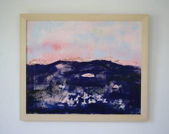"Pink Sky at Night // Casco Bay Original Oil Painting  18"" x 22"""