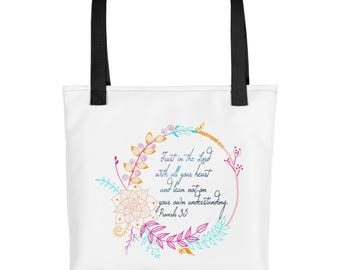 Proverbs 3 5, Christian Tote Bag, Tote bag