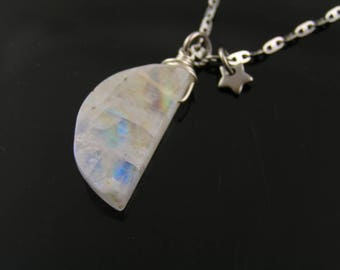 Rainbow Moonstone Necklace, Moon Necklace, Moonstone Jewelry, Moon and Star Necklace, Crescent Moon Necklace, Carved Moonstone, N1481
