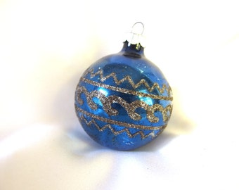Vintage Shiny Brite Christmas Ornament - Dark Blue with Black Mica Geometric Design Ornament