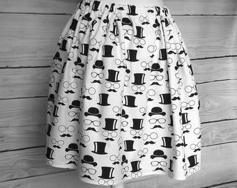 Black White skirt, glasses, mustache, hats, printed skirt, cotton skirt, fabric, white cotton fabric,