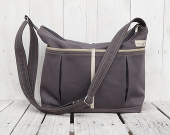 CHARCOAL NAPPY BAG, zipper diaper bag, lots of pockets changing bag, convertible carrier, messenger tote, unique gift for pregnant women