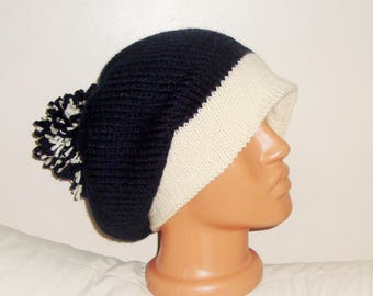 Hand Knitted Hat with double knit brim winter slouchy beanie mens womens navy and ivory or choise colors custom knit hat with pom pom gift
