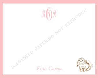 Bunny note card, personalized flat note cards, Bunny Thank You Note, Bunny stationery with name