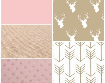 Baby Girl Crib Bedding Set Light Pink and Tan Stag and Arrows DEPOSIT