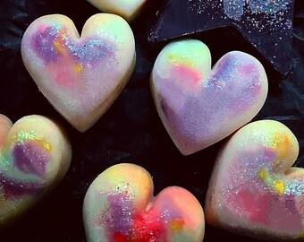 Rainbow hearts wax melts, unicorn hearts, glitter hearts,  scented soy wax melts, magical melts, mica powder melts, shimmer melts.