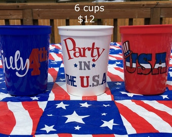 4th Of July, Fourth Of July Cups, 4th Of July Decor, July 4th Party Supplies, July 4th Decor, Fourth Of July, July 4th Party Favors
