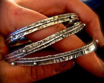 Silver Rustic Stacking Bangle