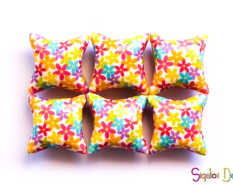 Polymer clay pillow beads - millefiori colorful floral beads - spring flower beads 20mm (6)