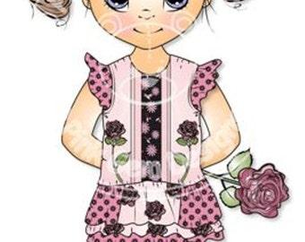 Digital (Digi) Grace with Rose Stamp. Cute Girl. Girl Birthdays. Card Making. Paper Craft. Digital Scrapbooking. Invitations