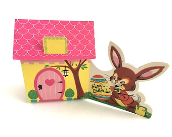 Vintage Easter Boxes Cardboard Candy Box Set Easter Bunny House Charming 1960s Graphics Gift Treat Caddys Set of 4