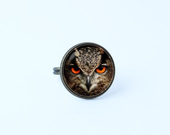 Owl ring Owl jewelry Owl head ring Gift for wife Adjustable ring Women ring Owl gift Eagle-owl ring Bird ring Bird jewellery Night bird ring