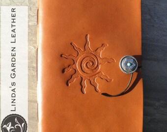 Handmade Leather Southwestern Sun Journal or Sketchbook