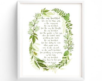 Art Prints, Printable Quotes, Wall Art Prints, Printable Art,  Instant Download Print, Botanical Print, She was beautiful