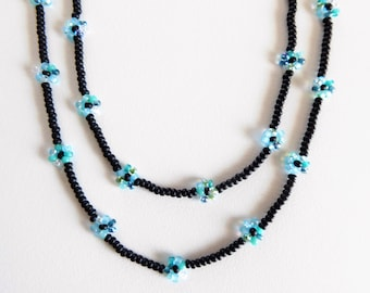 daisy chain necklace,long beadwoven chain necklace mixed turquoise flowers,long daisy chain necklace, necklace,wrap bracelete