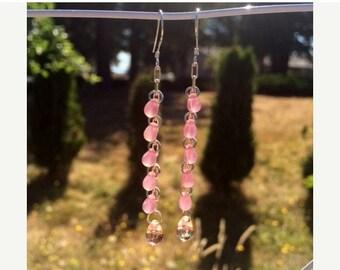 Memorial Day Sale Czech Glass Earrings: Pink Glass Teardrop Earrings