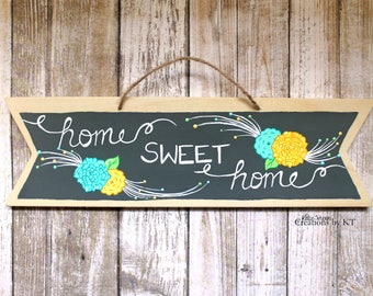 """Home Sweet Home Wood Sign Hand Painted 10.5"""" x 3"""" Floral Home Decor New Home Housewarming Gift New Home Sign Wooden Signs Wood Wall Art"""